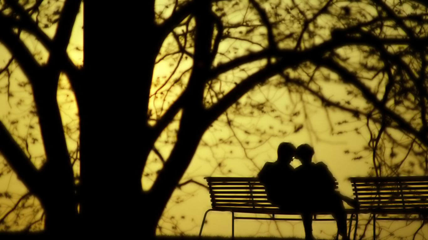 Lovers on a Park Bench